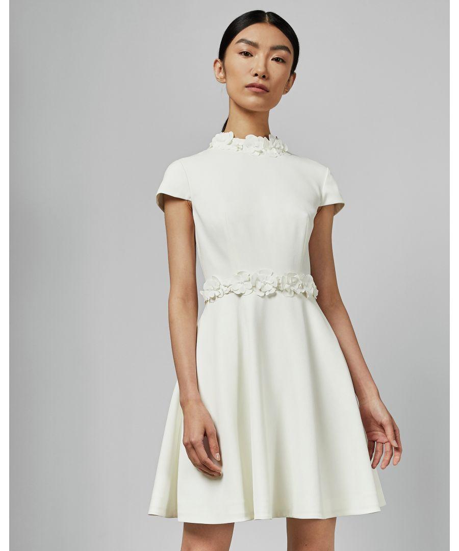 Image for Ted Baker Elianah Floral Applique Skater Dress, White