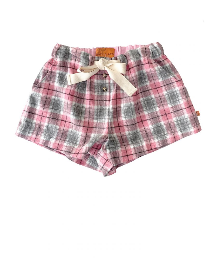 Image for Girls Pink Check Lounge Shorts