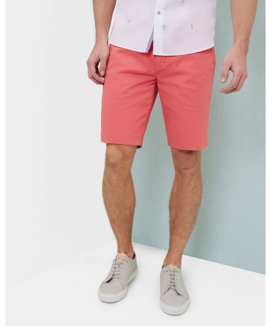 Image for Ted Baker Exsho Geo Print Chino Shorts, Coral