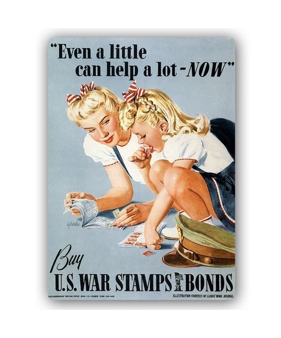 Image for Vintage War Propaganda Poster - Metal Print  - Even A Little Can Help A Lot - Now