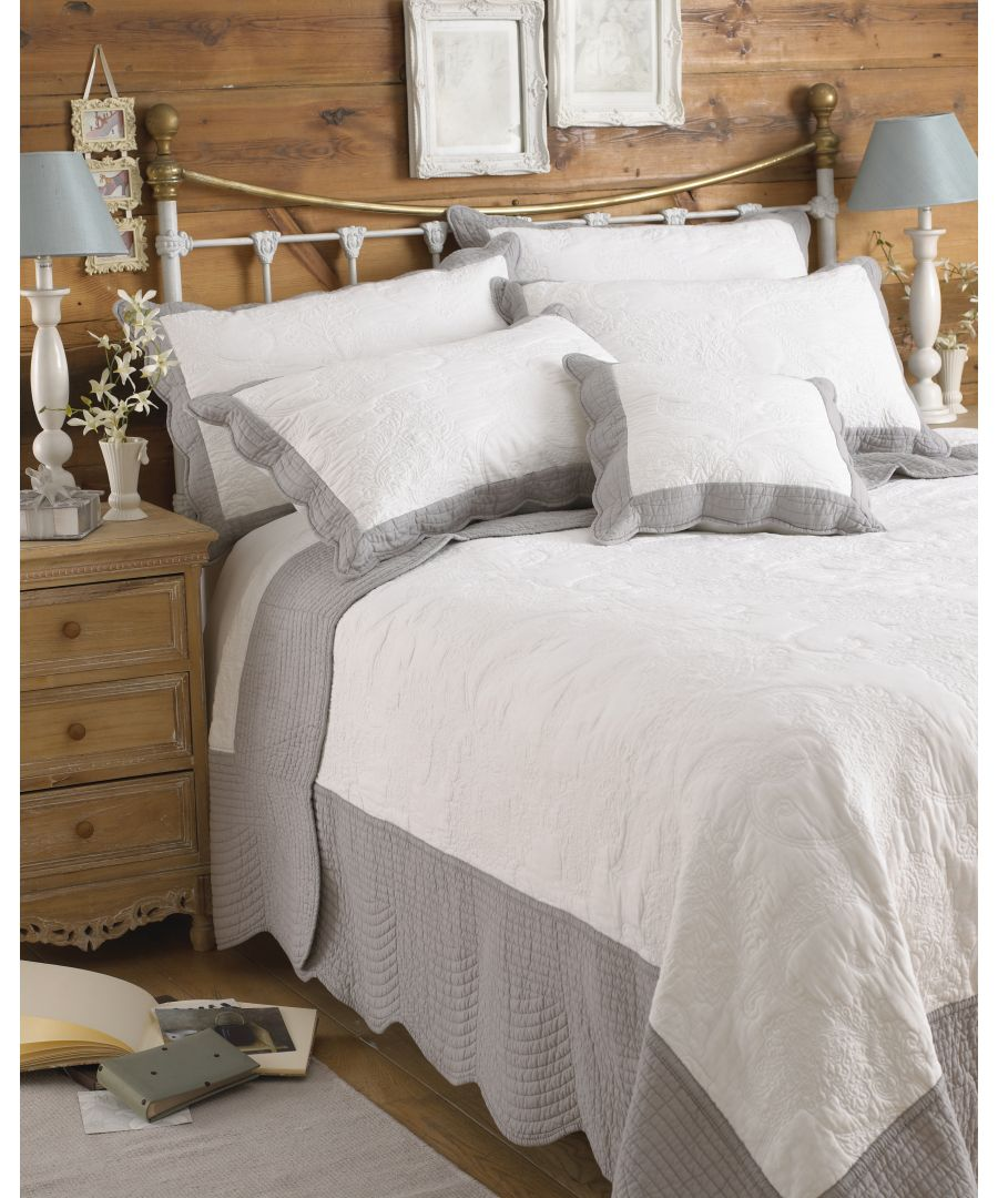 Image for Fayence King  Bedspread Whi/Gry