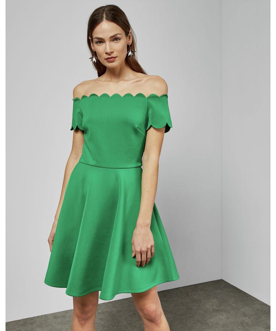 Image for Ted Baker Fellama Bardot Scallop Skater Dress, Bright Green
