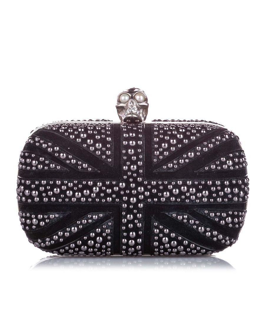 Image for Vintage Alexander McQueen Britannia Skull Box Studded Suede Clutch Bag Black