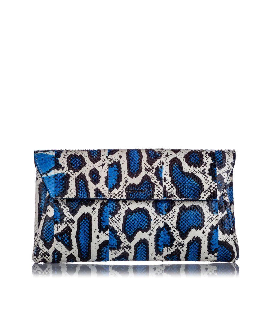 Image for Vintage Alexander McQueen Python Clutch Bag Blue