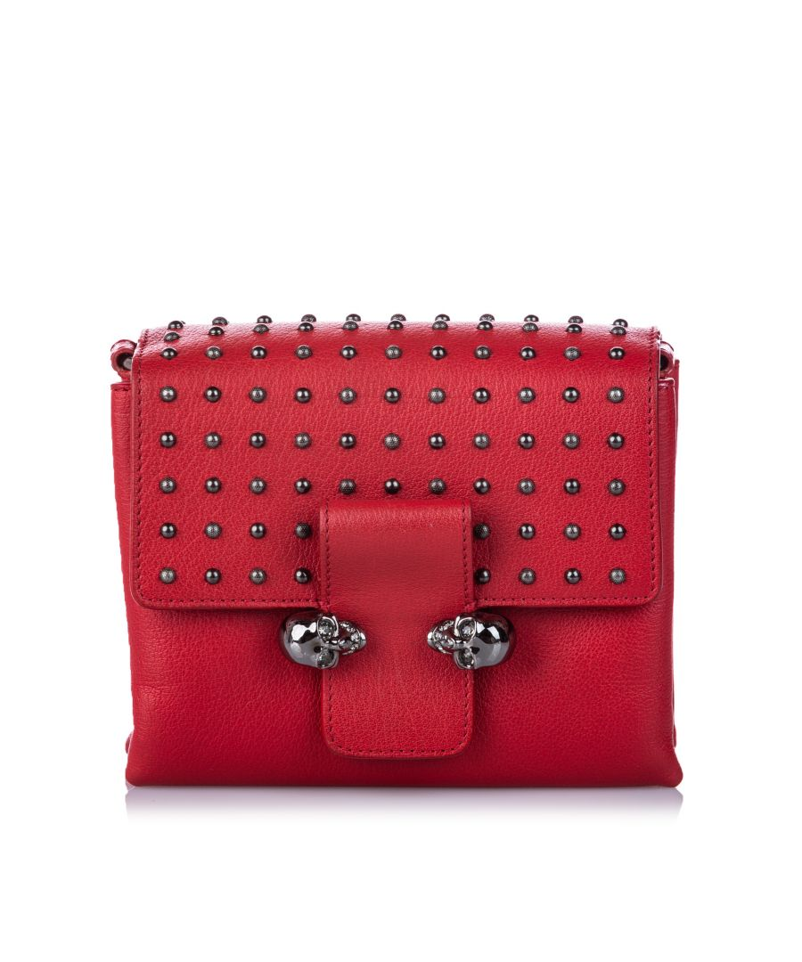 Image for Vintage Alexander McQueen Studded Leather Twin Skull Crossbody Bag Red