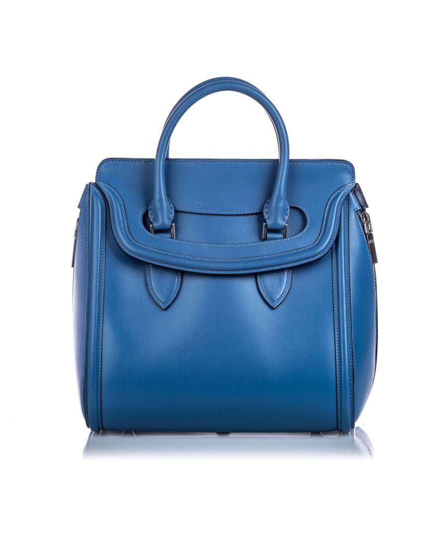 Image for Vintage Alexander McQueen Large Leather Heroine Handbag Blue