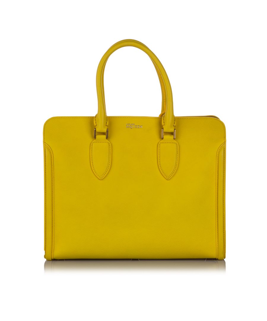 Image for Vintage Alexander McQueen Leather Skull Padlock Tote Yellow