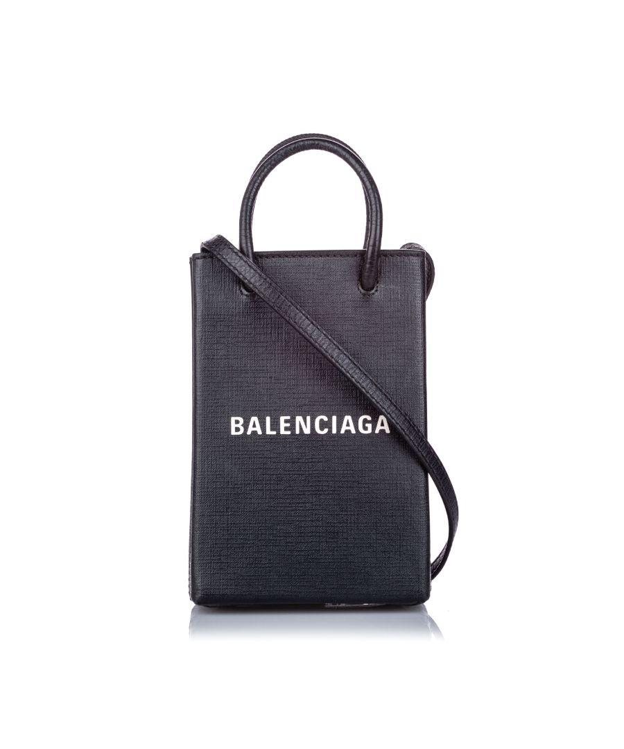 Image for Vintage Balenciaga XXS Leather Shopping Tote Black