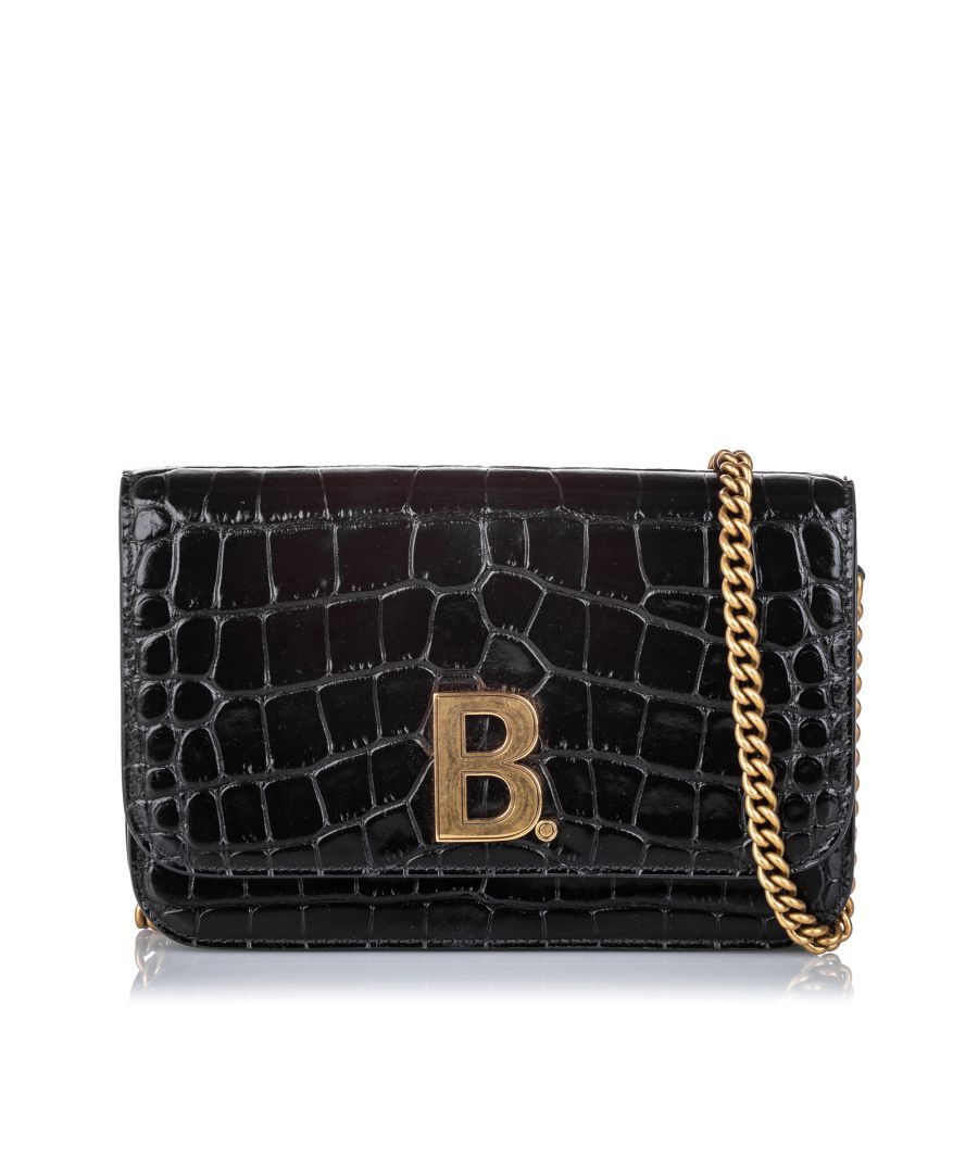 Image for Vintage Balenciaga Croc Embossed Patent Leather B Bag Wallet On Chain Black