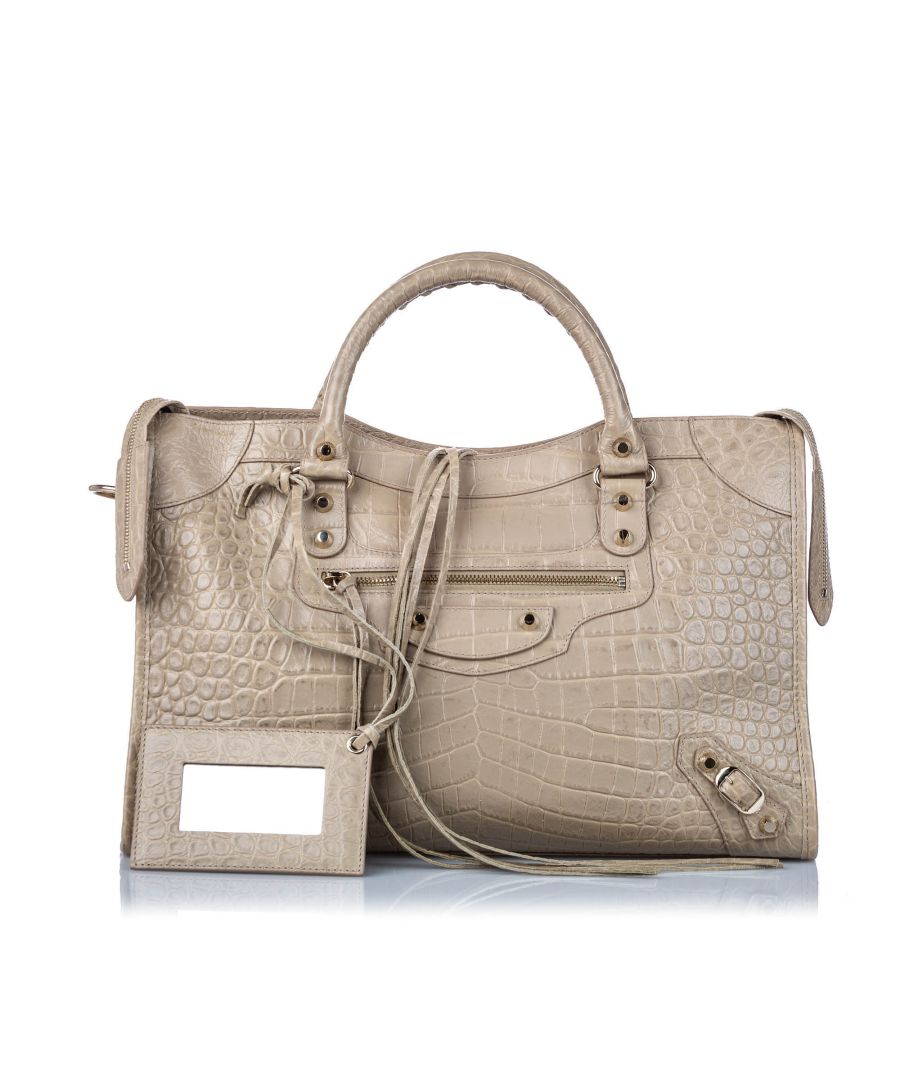 Image for Vintage Balenciaga Motocross Croc Embossed Classic City Satchel Gray
