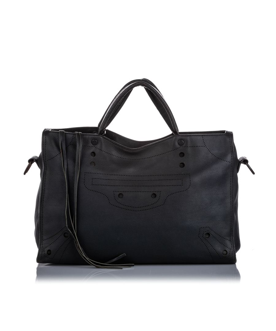 Image for Balenciaga Motocross Blackout City Satchel Black