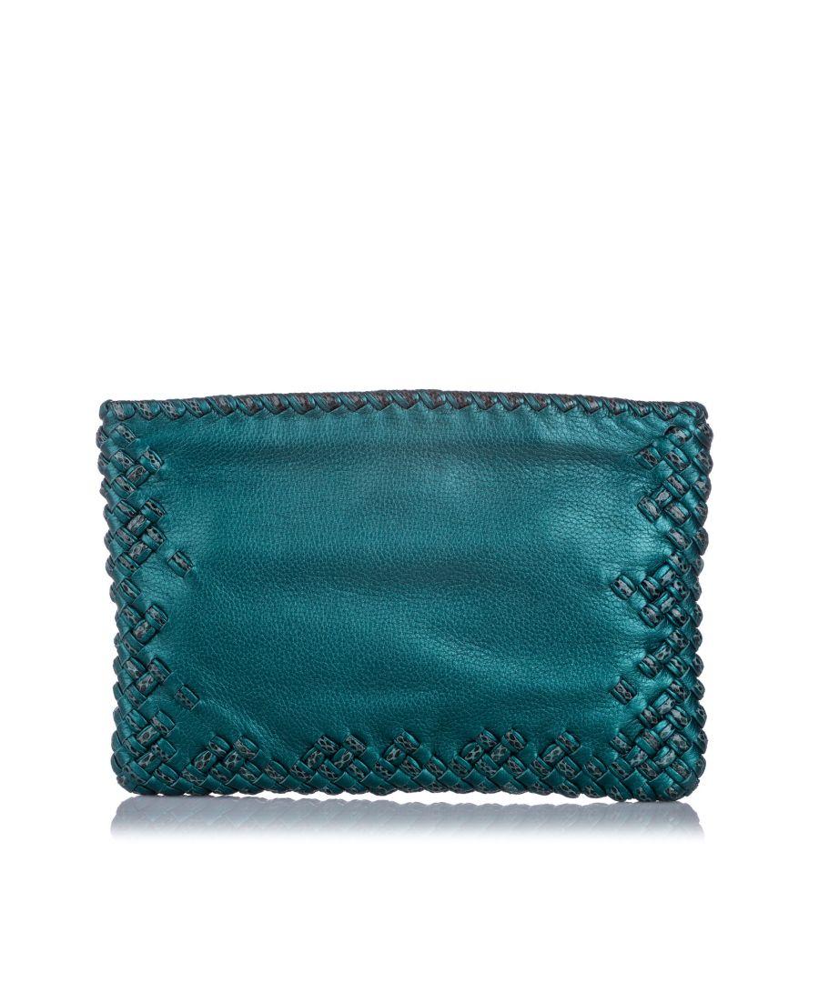 Image for Bottega Veneta Intrecciato Leather Clutch Bag Green