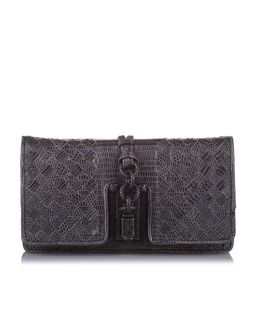 Image for Vintage Bottega Veneta Intrecciato Lizard Leather Clutch Bag Black