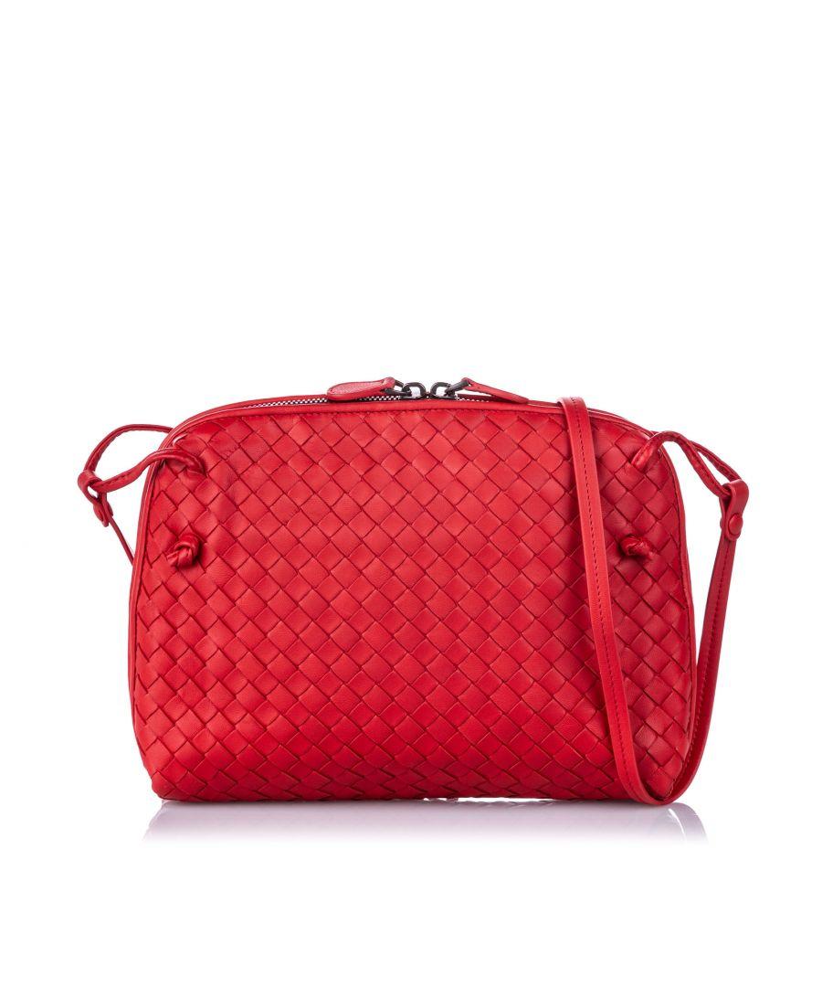 Image for Vintage Bottega Veneta Intrecciato Nodini Leather Crossbody Bag Red