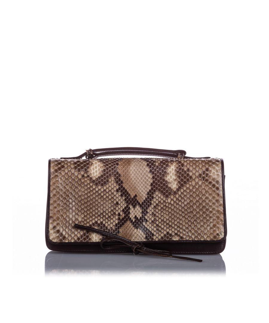 Image for Bottega Veneta Snakeskin Flap Bag Brown