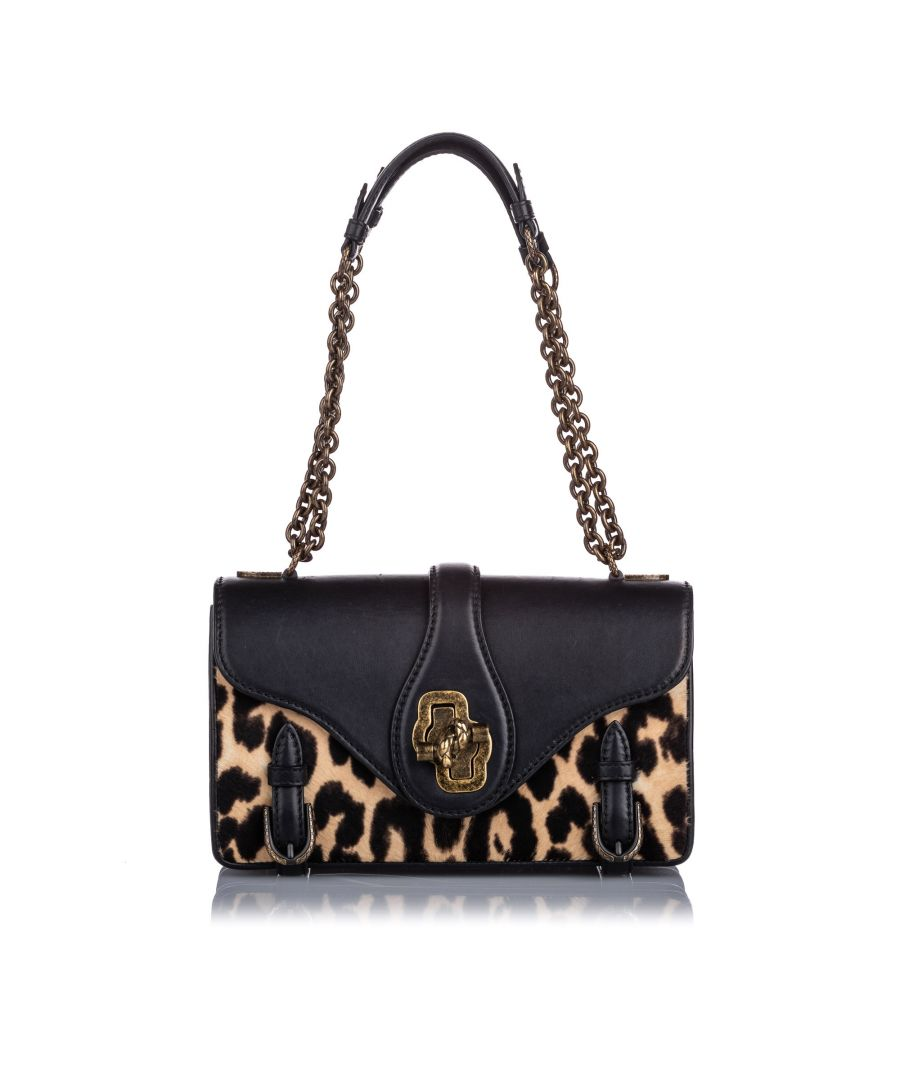 Image for Bottega Veneta Leopard Print Pony Hair City Knot Shoulder Bag Black