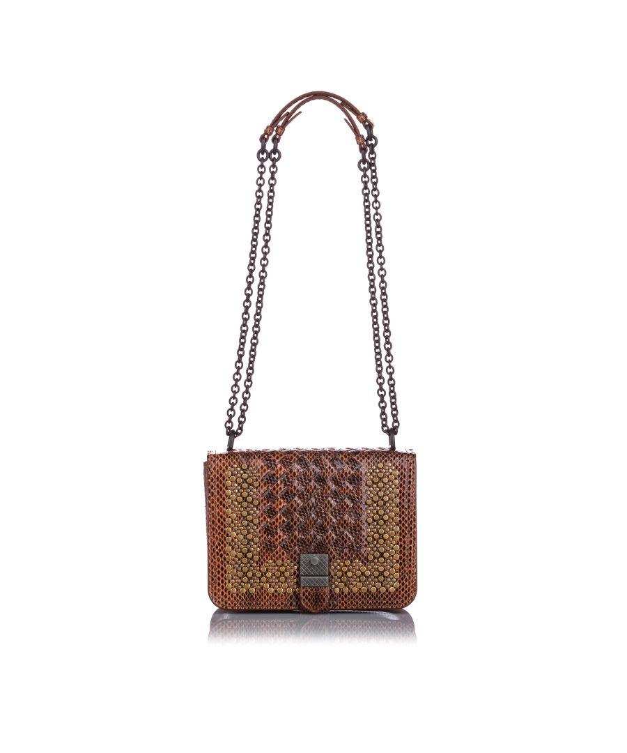 Image for Bottega Veneta Studded Snakeskin Intrecciato Crossbody Bag Brown