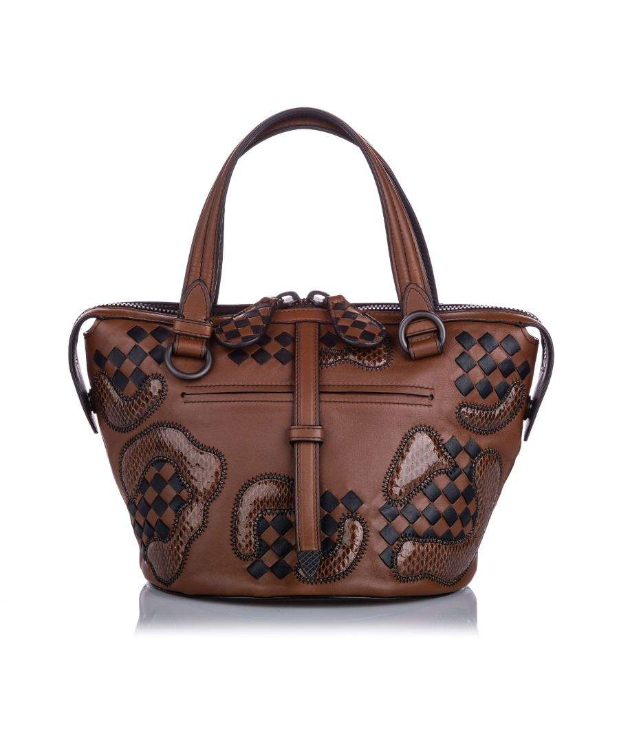 Image for Bottega Veneta Paisley Checker Tambura Leather Satchel Brown