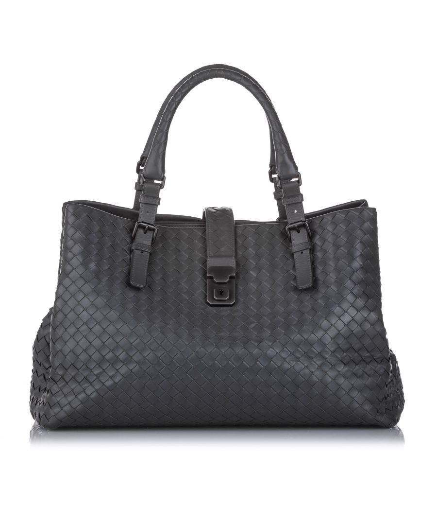 Image for Vintage Bottega Veneta Large Roma Intrecciato Tote Bag Gray