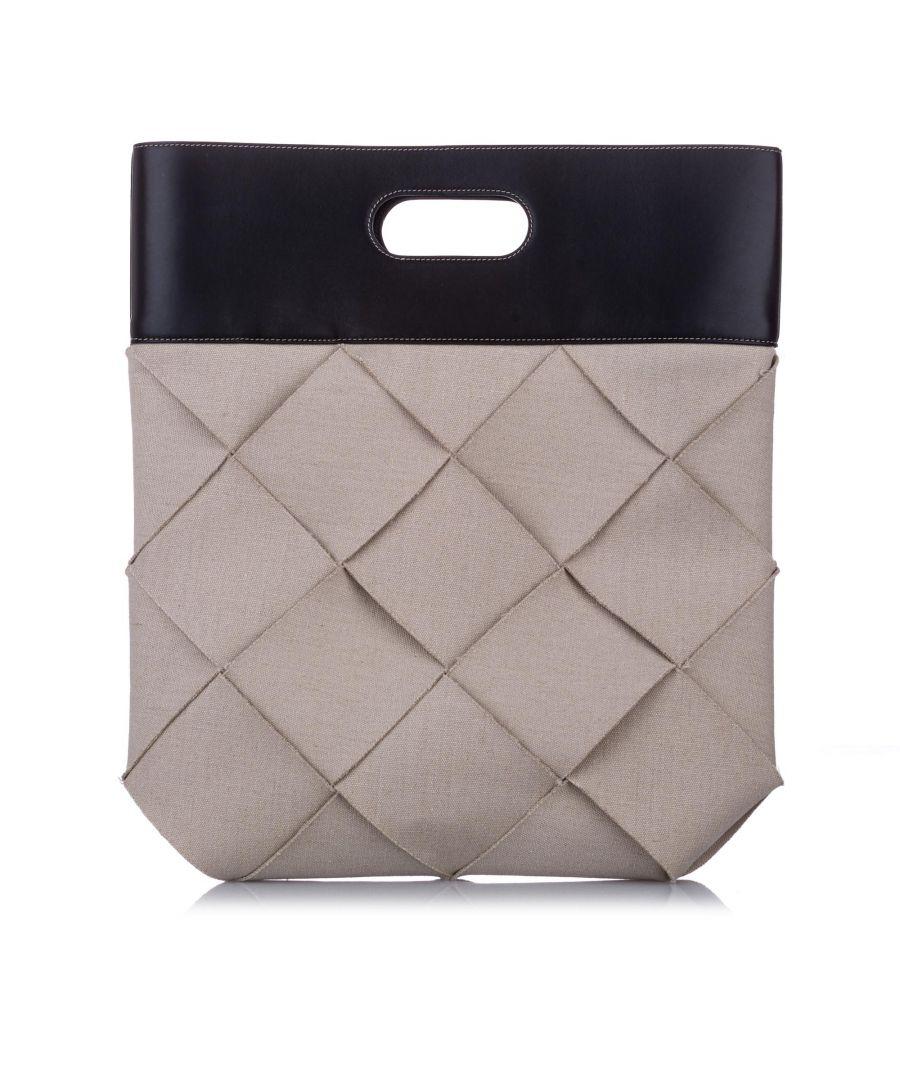Image for Vintage Bottega Veneta Slip Linen Tote Bag Brown