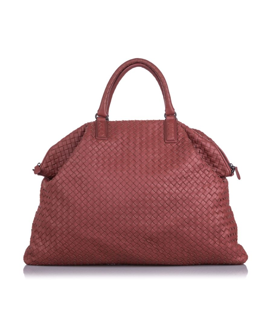 Image for Bottega Veneta Maxi Intrecciato Convertible Travel Bag Red