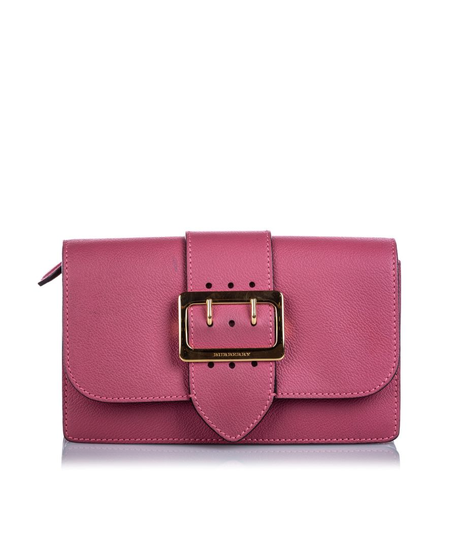 Image for Vintage Burberry Leather Buckle Crossbody Bag Pink