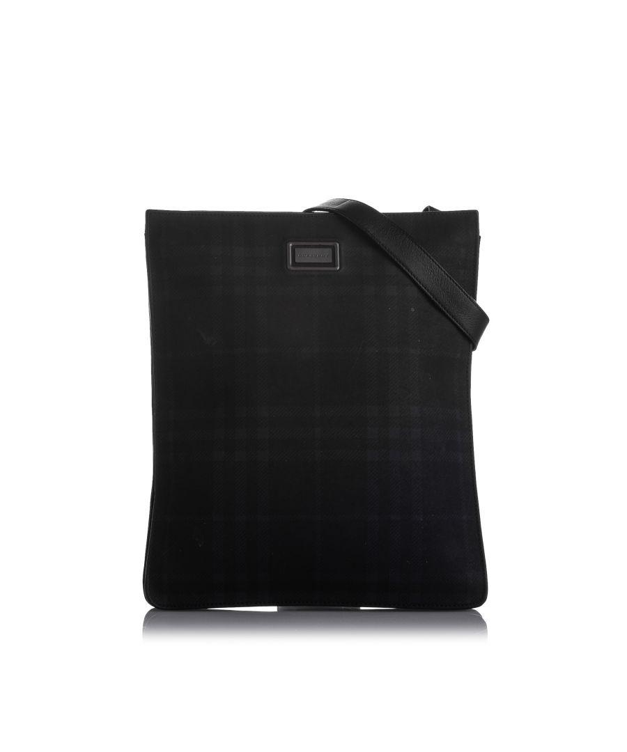 Image for Vintage Burberry Plaid Leather Crossbody Bag Black