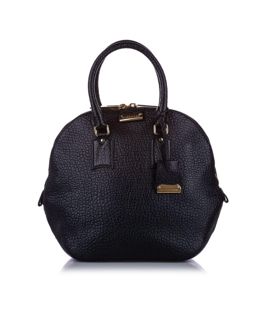 Image for Vintage Burberry Medium Orchard Leather Handbag Black