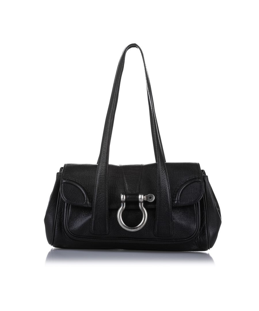 Image for Vintage Burberry Leather Shoulder Bag Black