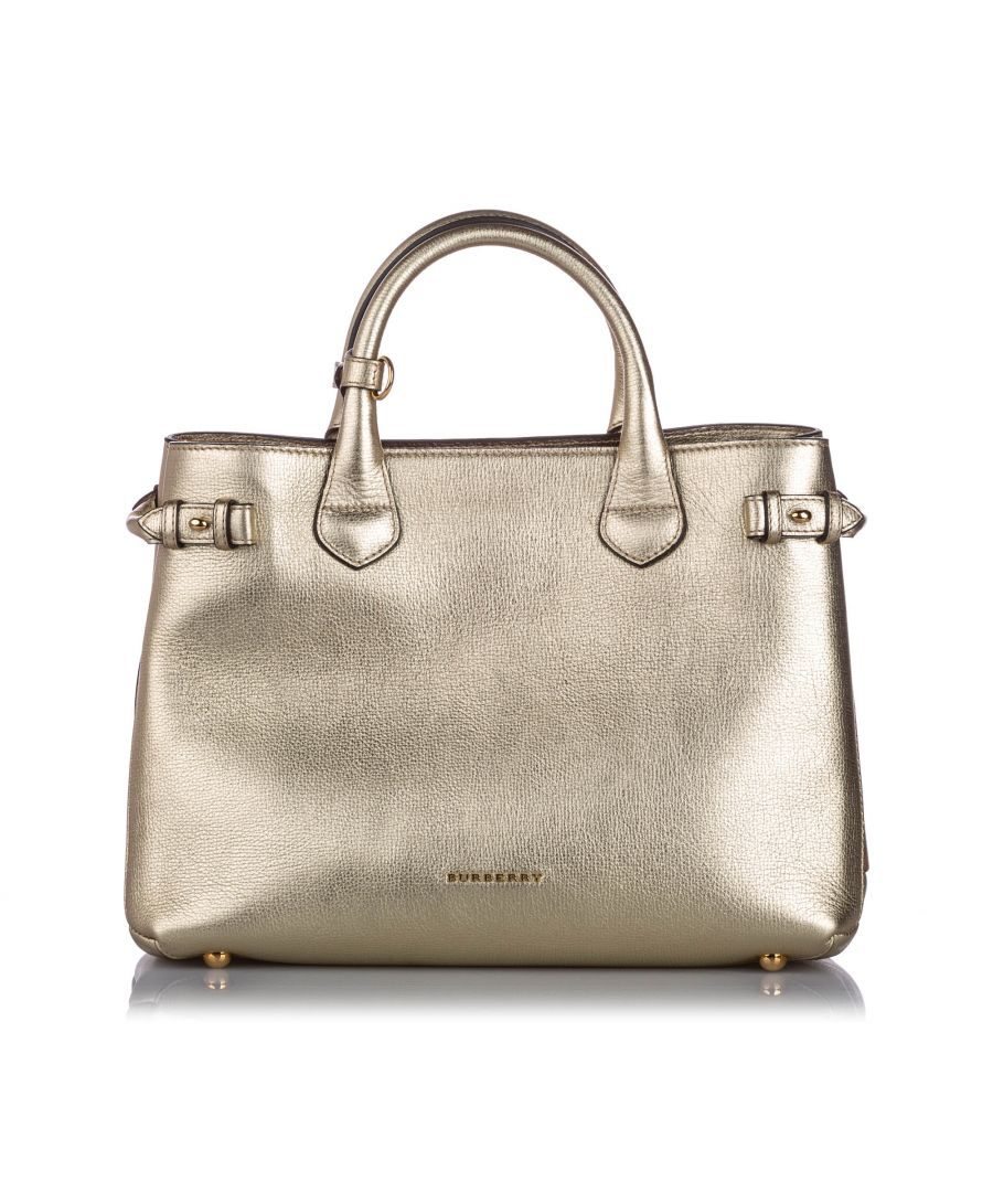 Image for Burberry Medium Leather Banner Tote Gold