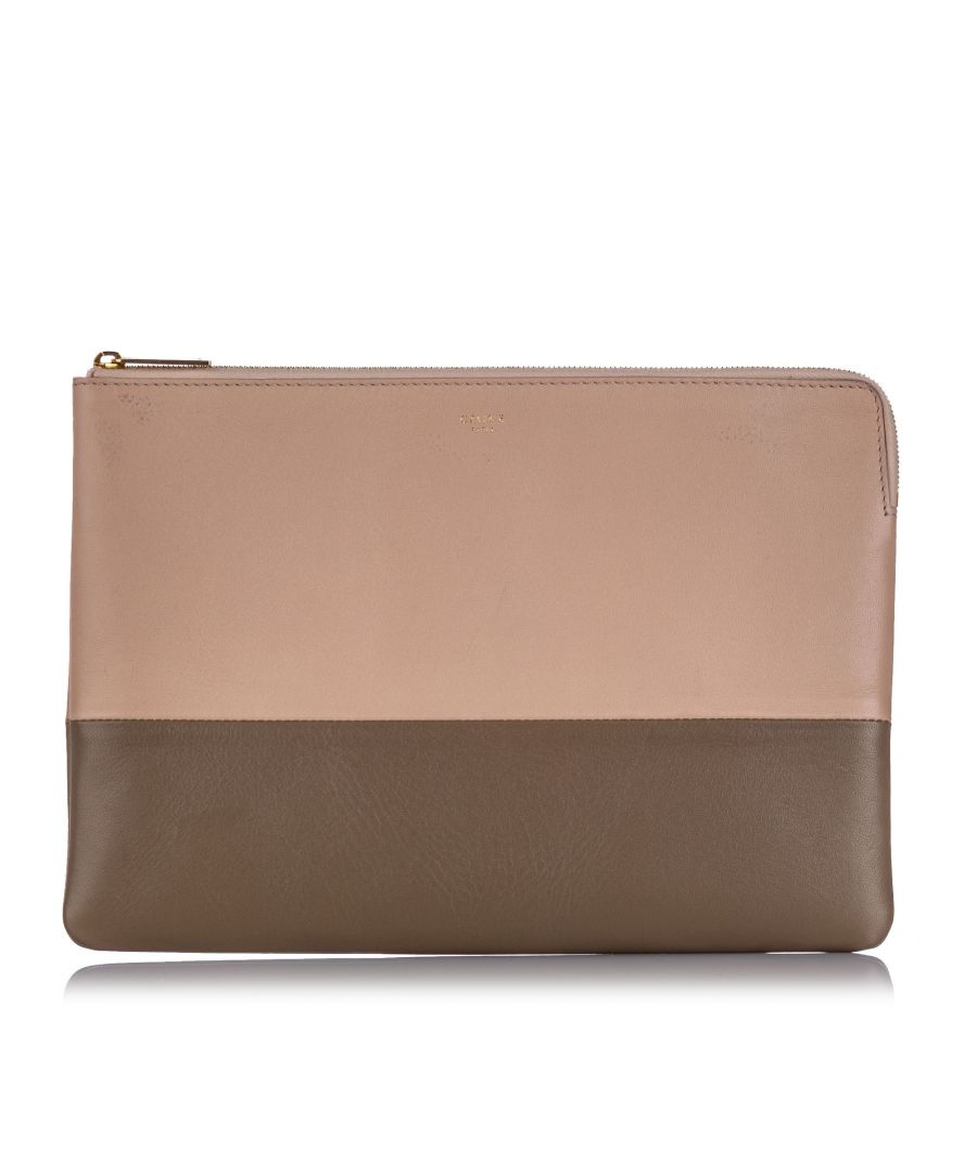 Image for Vintage Celine Bicolor Leather Clutch Bag Pink