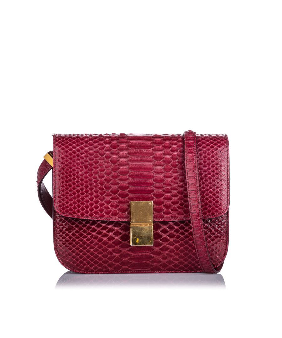 Image for Celine Small Python Classic Box Bag Red