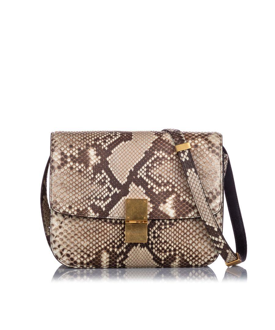 Image for Celine Small Python Classic Box Bag Brown