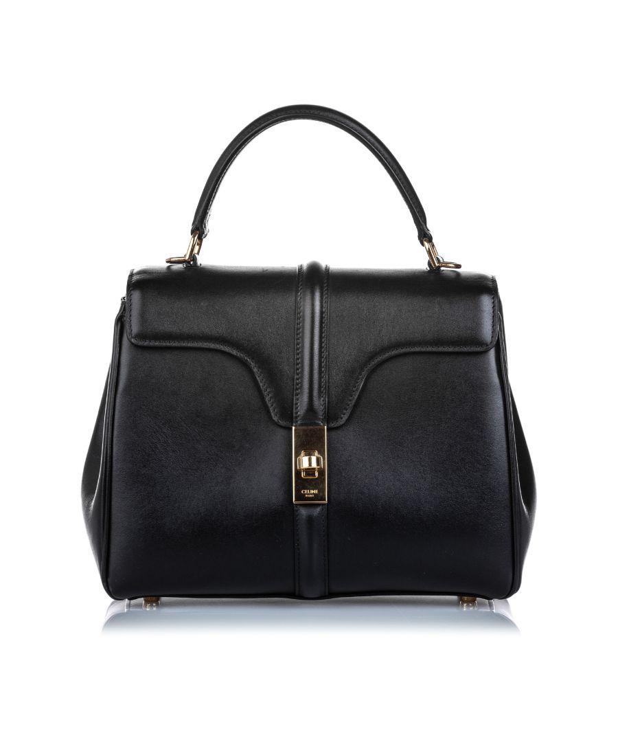Image for Vintage Celine Leather Small 16 Bag Black