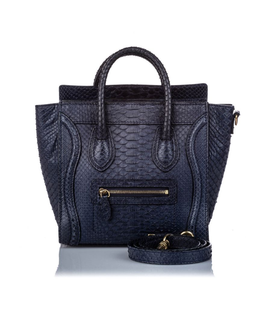 Image for Celine Python Nano Luggage Satchel Blue