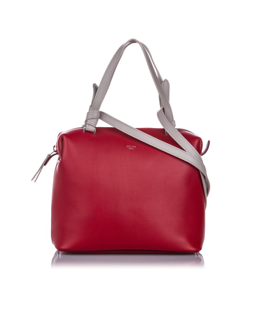 Image for Vintage Celine Small Soft Cube Leather Satchel Red