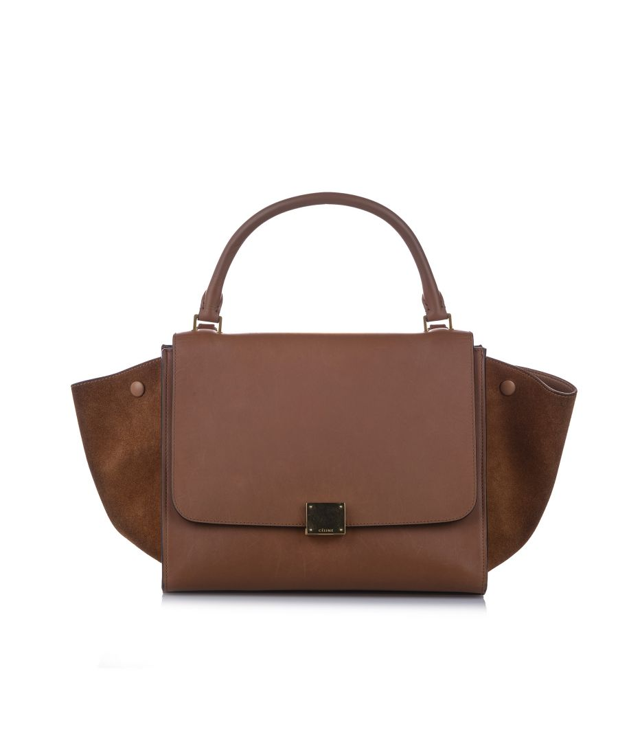 Image for Vintage Celine Medium Trapeze Leather Satchel Brown