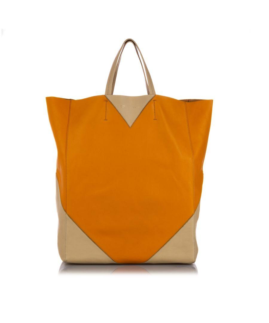Image for Vintage Celine Vertical Coeur Cabas Tote Bag Orange