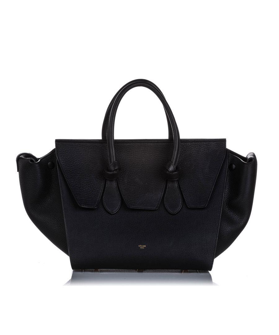 Image for Vintage Celine Small Tie Leather Tote Bag Black