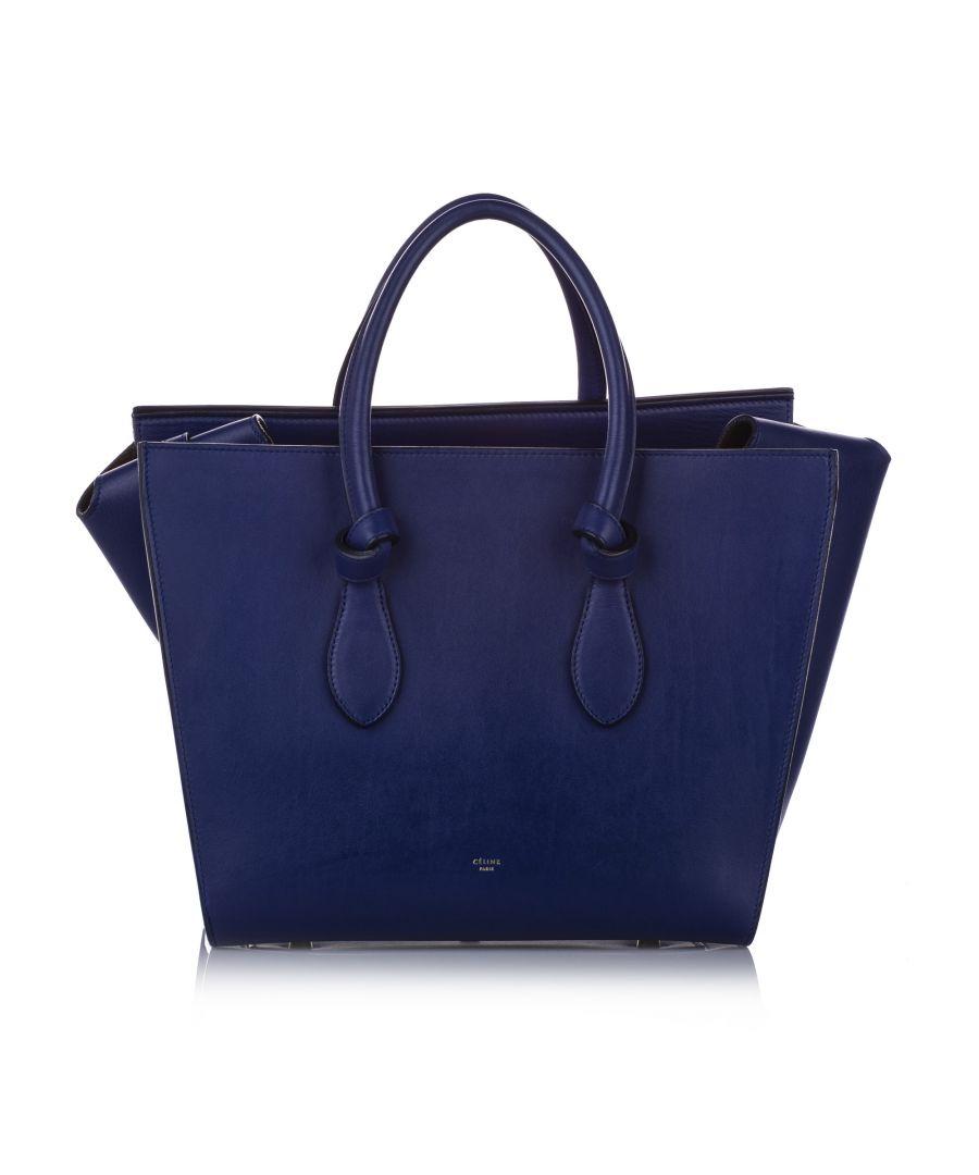 Image for Vintage Celine Small Tie Leather Tote Bag Blue