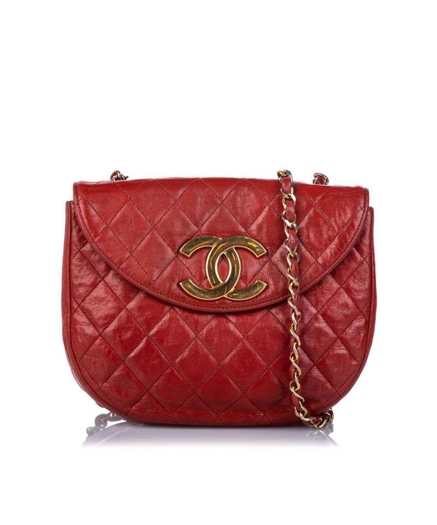 Image for Vintage Chanel CC Quilted Lambskin Leather Crosbsody Bag Red
