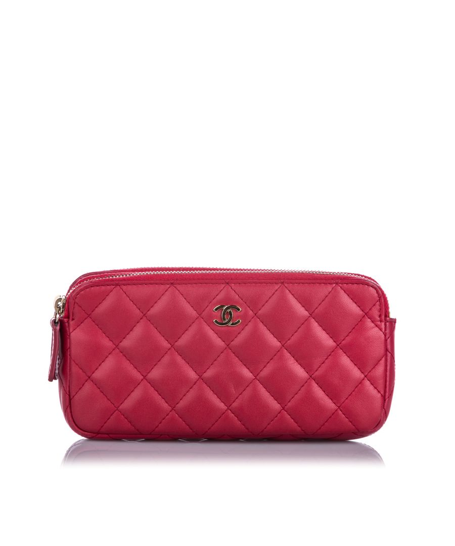 Image for Chanel CC Double Zip Lambskin Leather Wallet on Chain Pink