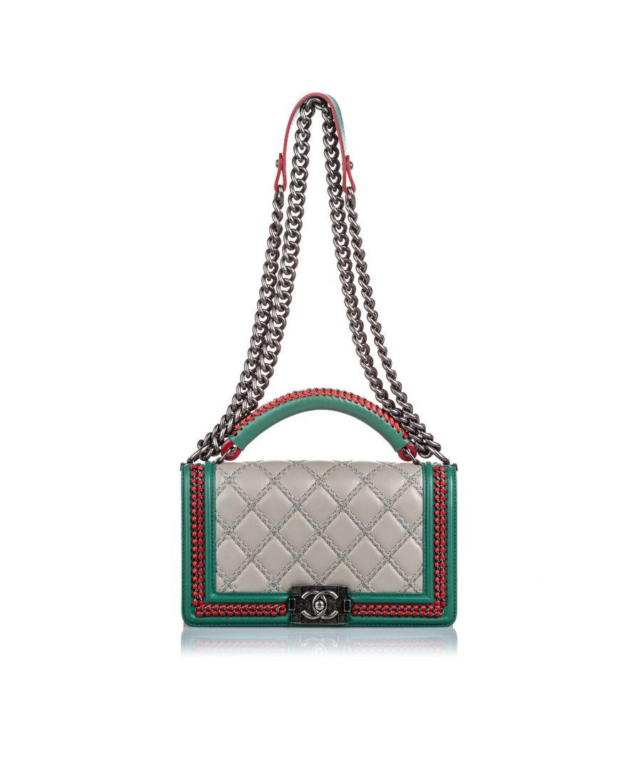 Image for Vintage Chanel Medium Lambskin Leather Top Handle Boy Flap Bag Brown