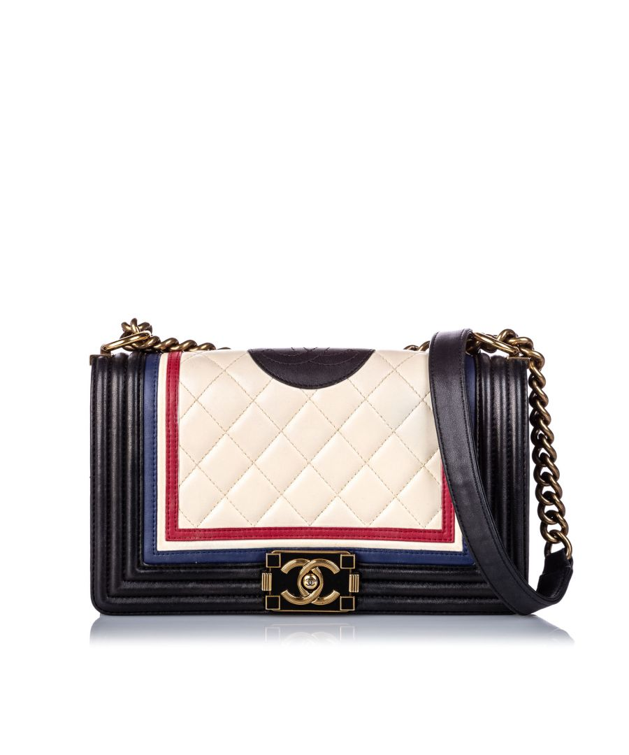 Image for Vintage Chanel Medium Crest-Embellished Boy Bag White