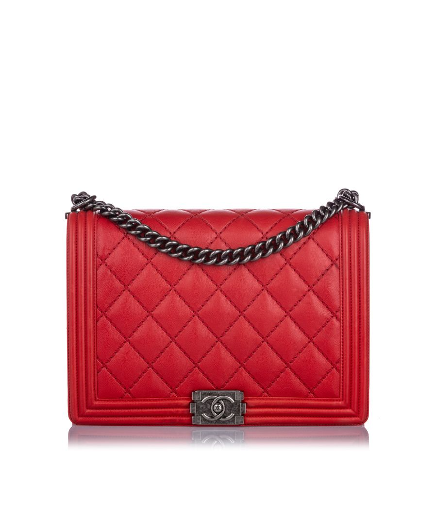 Image for Chanel XL Double Stitch Boy Bag Red