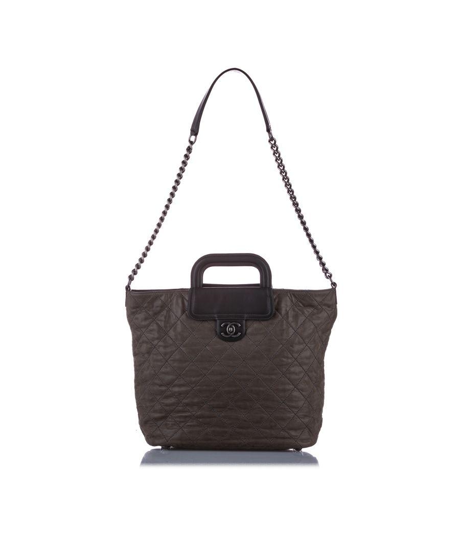 Image for Vintage Chanel Matelasse Leather Satchel Brown