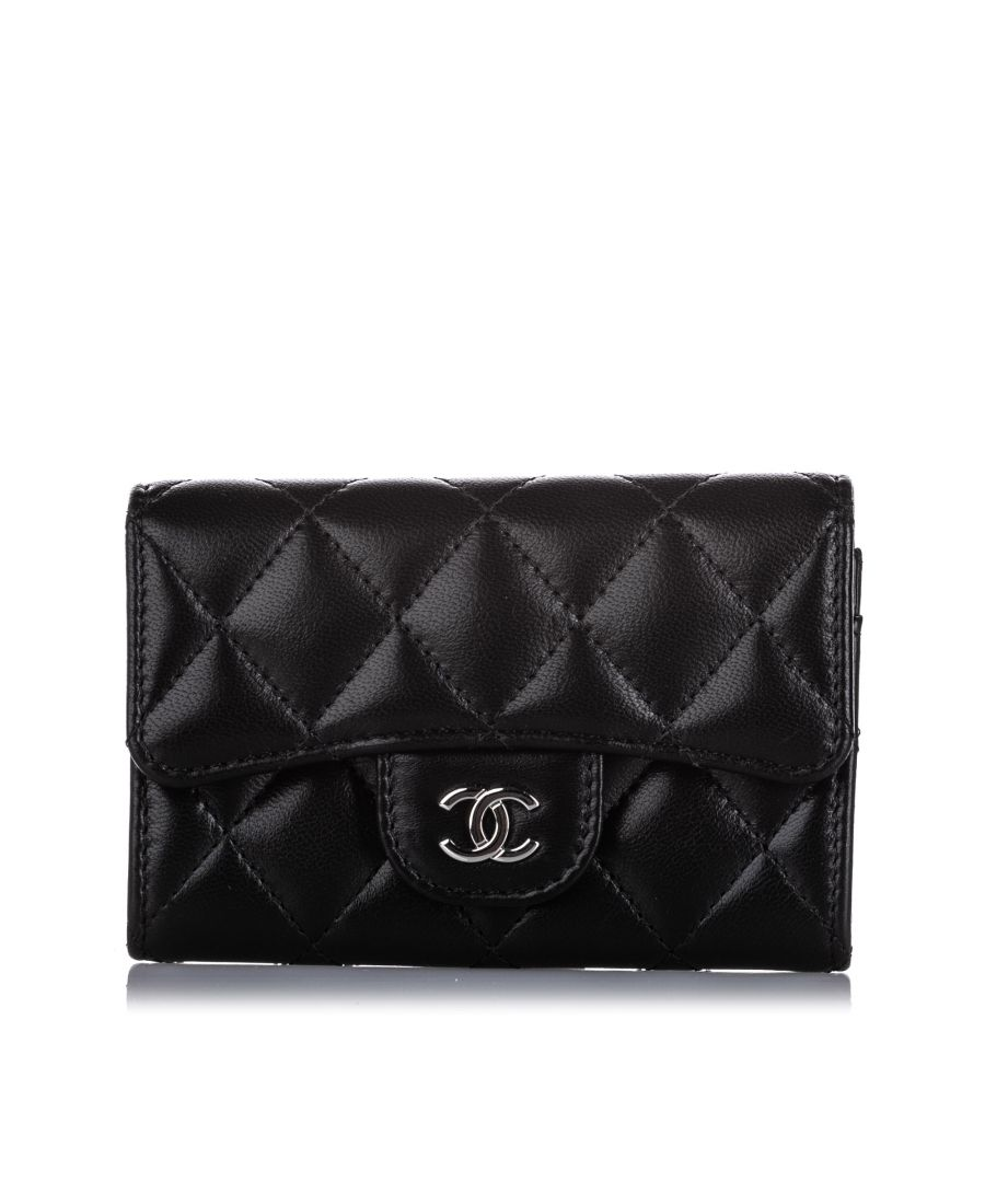 Image for Vintage Chanel CC Timeless Lambskin Leather Small Wallet Black