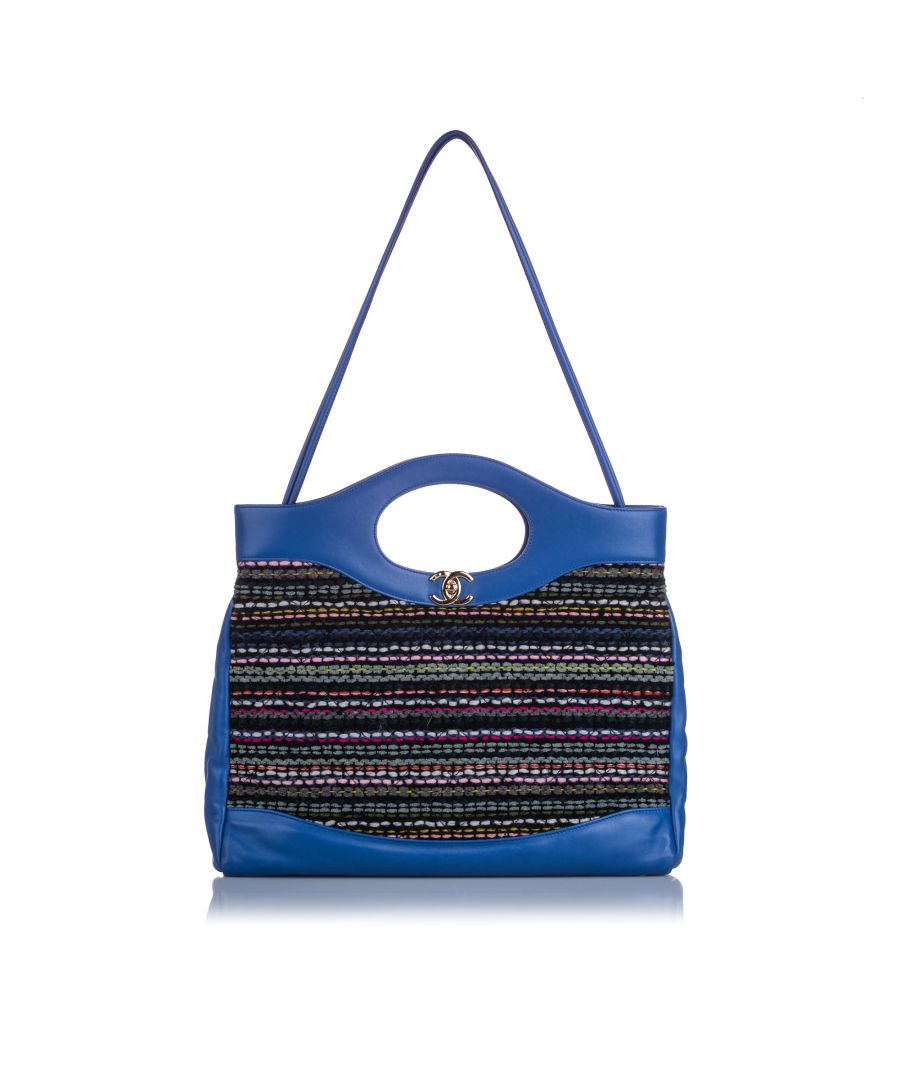 Image for Chanel Large Tweed 31 Shopping Tote Blue