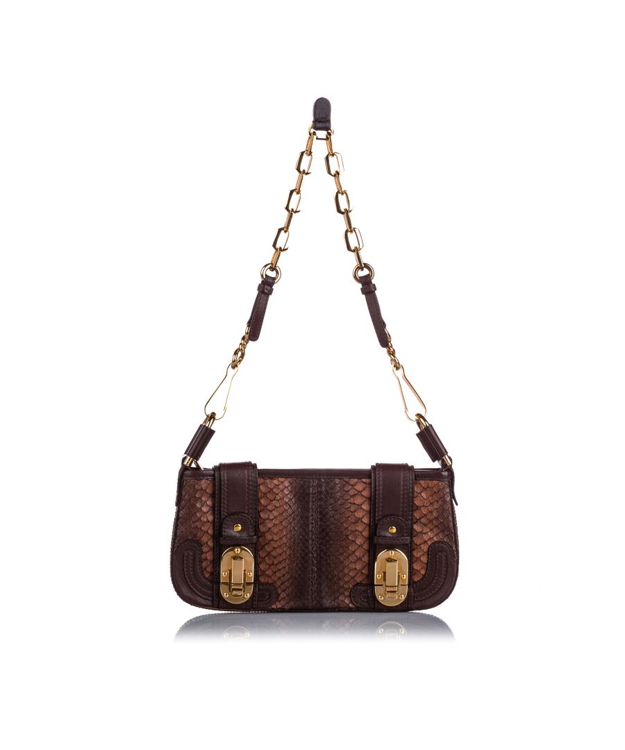 Image for Chloe Python Leather Baguette Brown