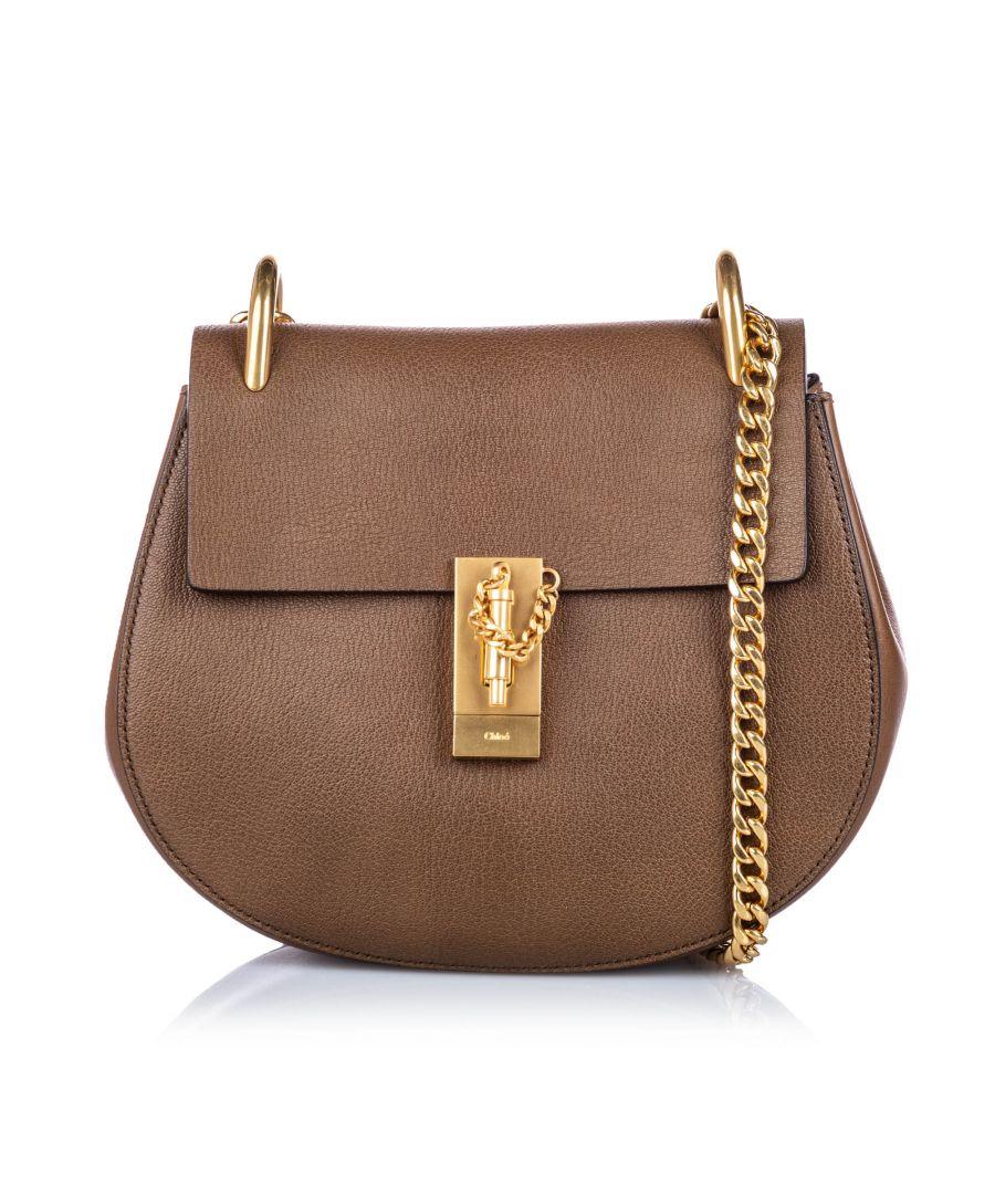Image for Vintage Chloe Leather Drew Crossbody Bag Brown